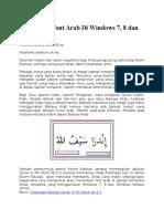 Cara Menginstal Font Arab Di Windows 7
