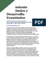 Crecimiento Económico y Desarrollo Económico