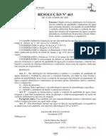 Anexo i - Resolução Nº 463 de 27 de Junho de 2007 Do Conselho Federal de Farmácia – Cff