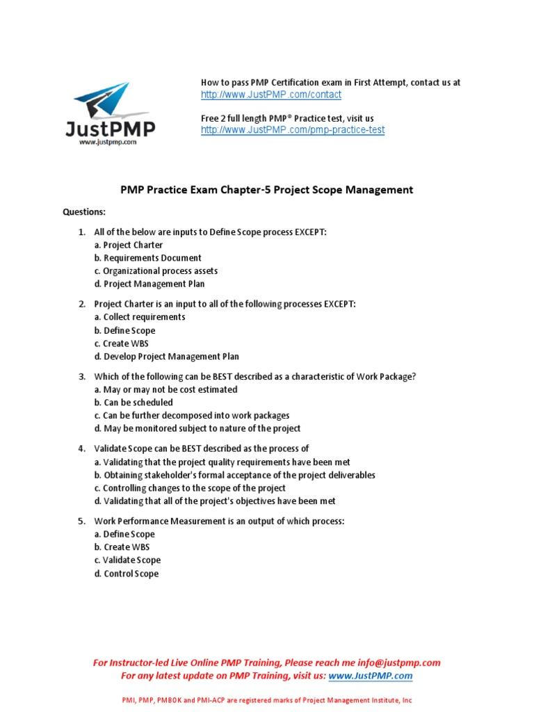 Pmp Chapter 5 Test Project Scope Management Project Management