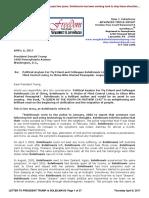 Letter to President Trump Re Request for Asylum for Solielmavis Liu April 6, 2017
