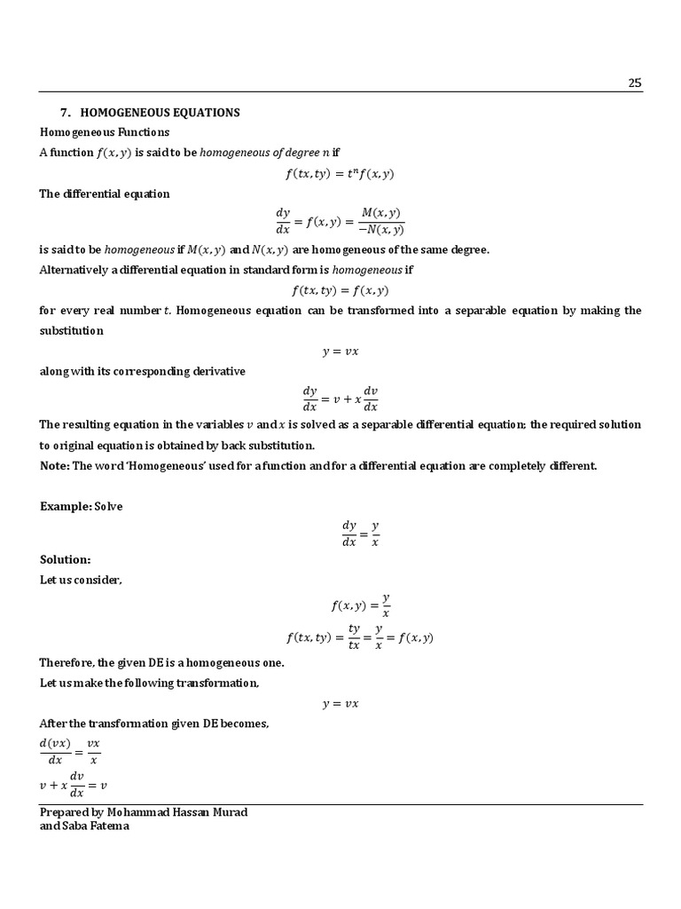 Homogeneous Differential Equation | Equations | Sine