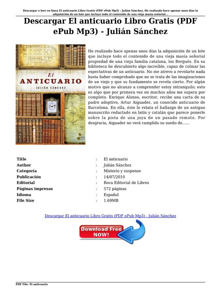 Descargar el anticuario libro gratis pdf epub mp3 juli n s nchez pdf