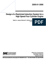 2000-01-3090 - Design of a Restricted Induction System for a High Speed Four Cylinder Engine