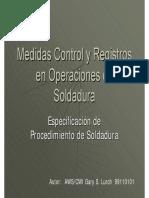 Medidas, Control y Registros en Operaciones de Soldadura