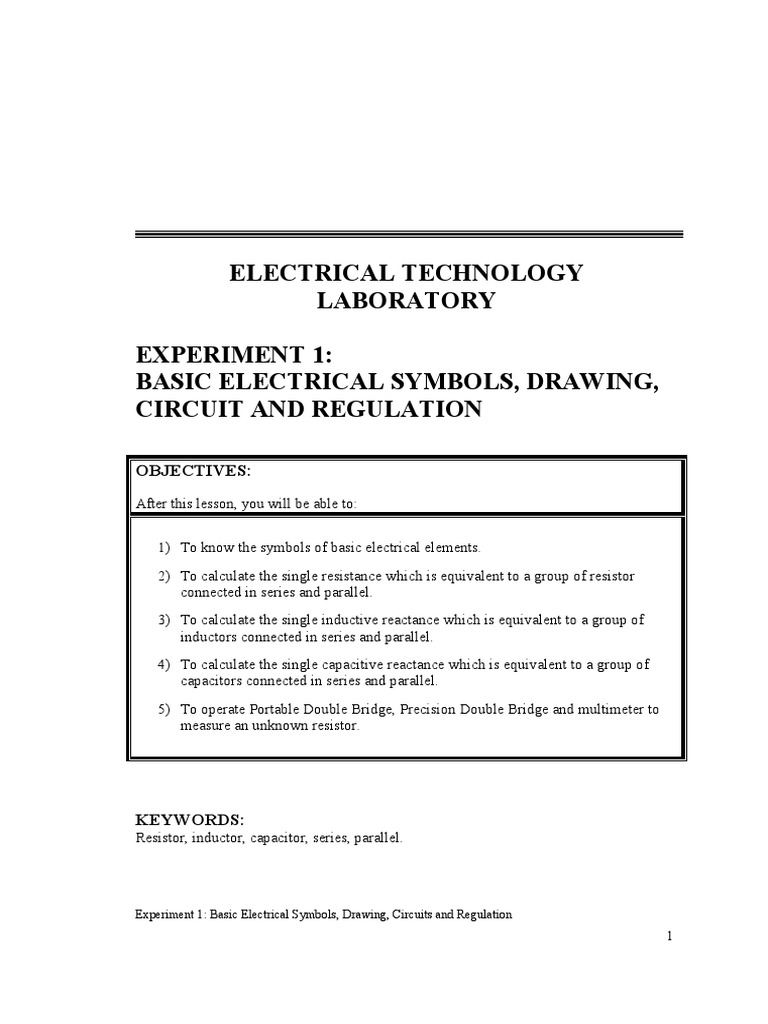 Exp1 Basic Electric Symbol Series And Parallel Circuits Capacitor