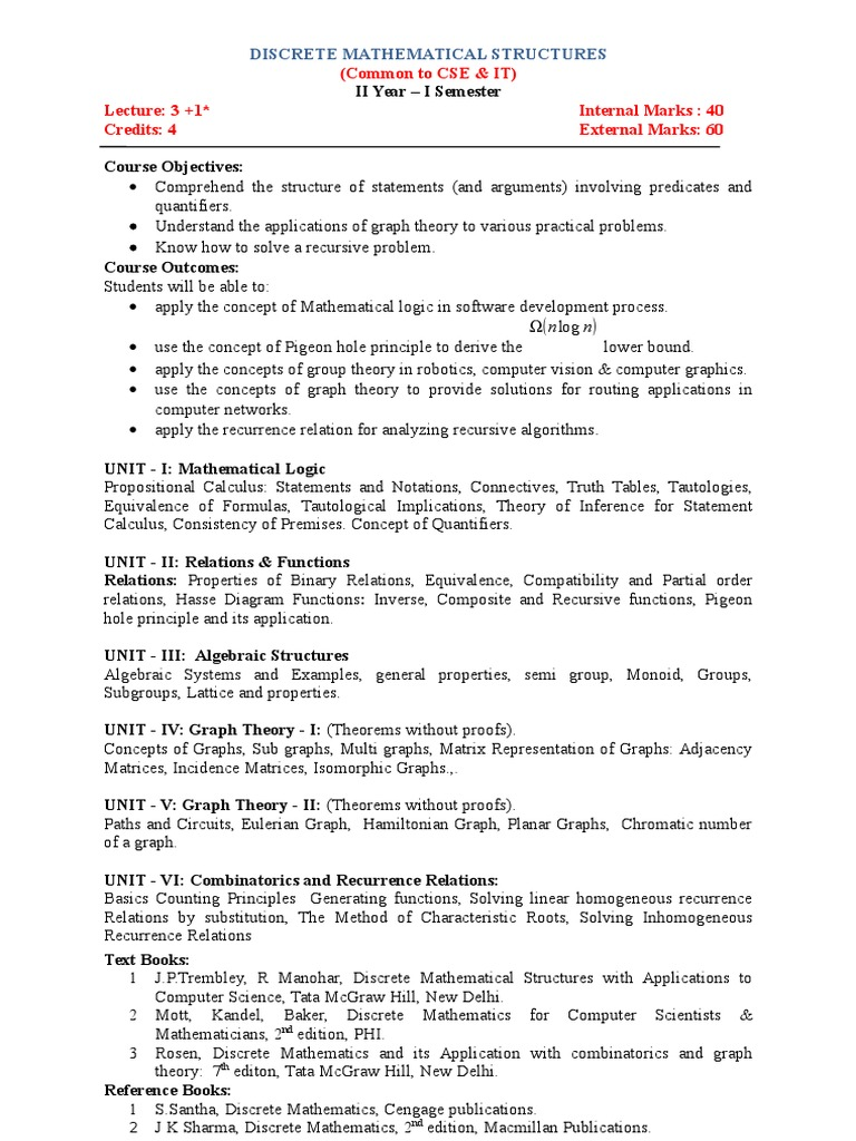 Discrete Mathematics Syllabi Discrete Mathematics Graph Theory