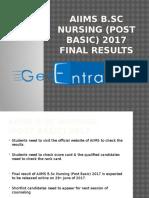 AIIMS B.sc Nursing (Post Basic) 2017 Final Results