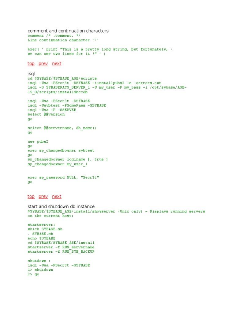 Sybase Isql Commands | Sql | Database Index