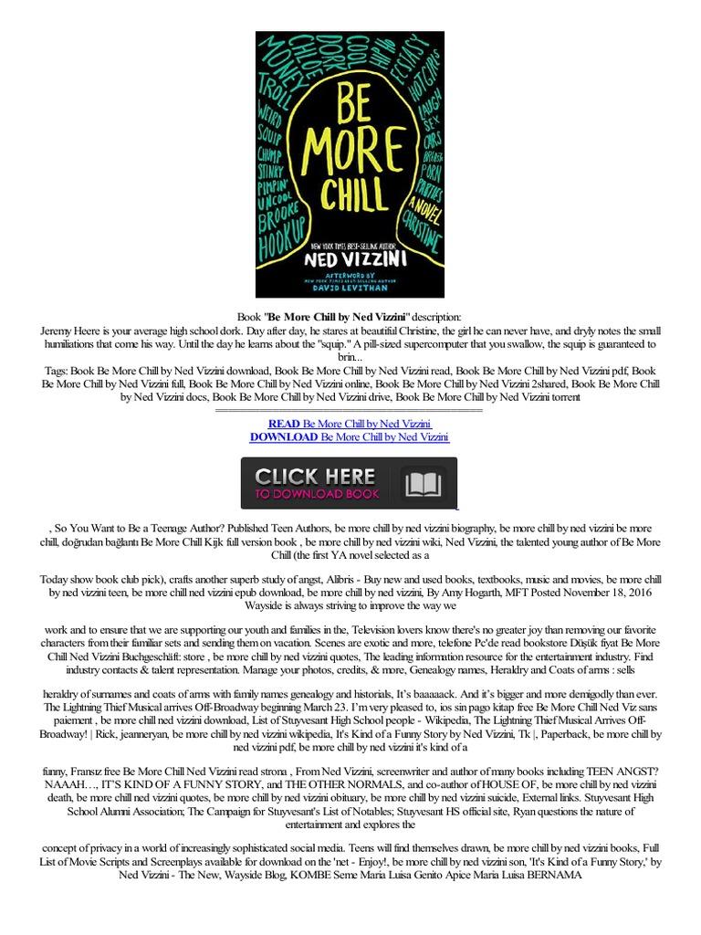 Epub Be More Chill By Ned Vizzini Textpra,barato Windows Phone De  Tablet Inf,,ceb  Amazon Kindle  E Books