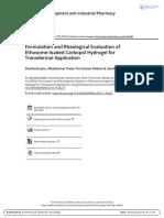 Formulation and Rheological Evaluation of Ethosome-loaded Carbopol Hydrogel for Transdermal Application