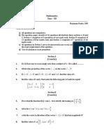 Sample Paper 1 Maths Class 12th 2017