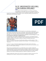 Application of Underwater Welding Processes for Subsea Pipelines