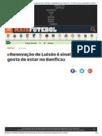 «Renovação de Luisão é Sinal de Que Ele Gosta de Estar No Benfica» _ Maisfutebol.iol