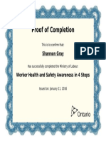 shannon gray - worker health and safety awareness in 4 steps certificate