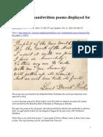 Louis Riel's Poems on Display