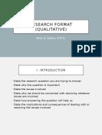 Research Format (Qualitative)