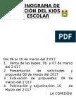 Cronograma de Licitaciòn Del Kiosko Escolar