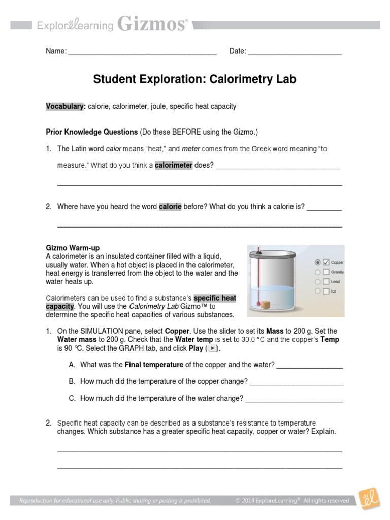 Gizmo_Calorimetry_Lab_Exploration.pdf | Calorie | Heat