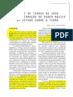 CAVALCANTE, José Luiz. a Lei de Terras de 1850 e a Reafirmação Do Poder Básico Do Estado Sobre a Terra