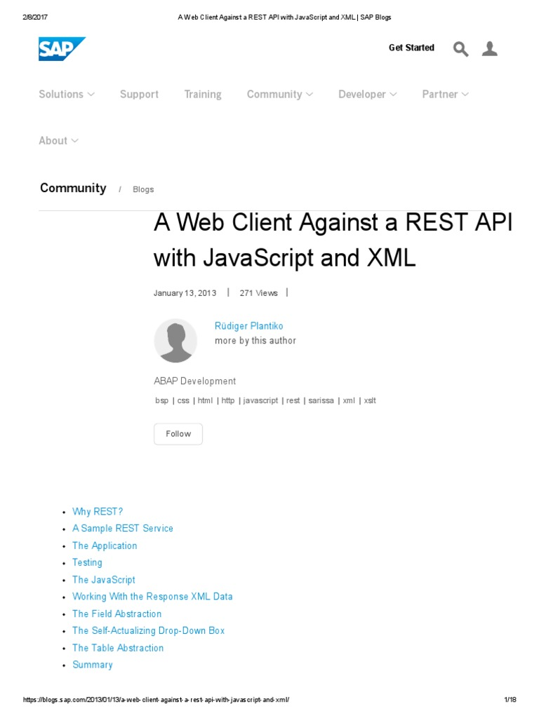 a web client against a rest api with javascript and xml sap blogs