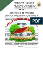 Constancia de Vivencia Felix Moreno Caballero