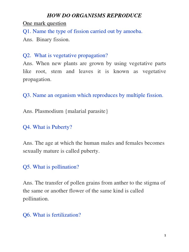 Plasmotomy asexual reproduction worksheet
