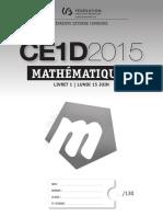 Йvaluation Certificative - CE1D - 2015 - Mathйmatiques - Questionnaires - Version Standard (Ressource 12080)