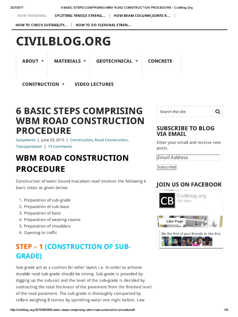 6 Basic Steps Comprising Road Construction Procedure