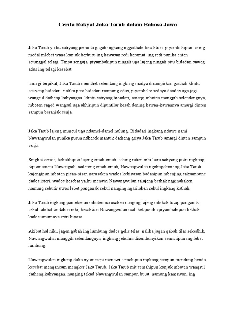 Contoh Cerita Rakyat Mitos Dalam Bahasa Jawa Brad Erva Doce Info