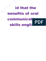 Said That the Benefits of Oral Communication Skills English