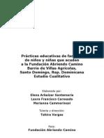 ESTUDIO CUALITATIVO PRACTICAS EDUCATIVAS FAMILIAS VILLAS AGRICOLAS. REP. DOMINICANA