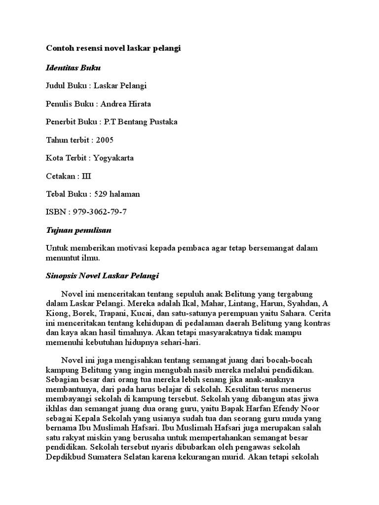 Contoh Resensi Novel Laskar Pelangi Docx