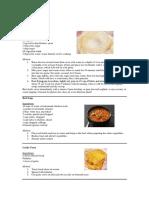 menu of all recipes