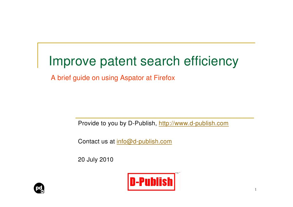 Improve Patent Search Efficiency