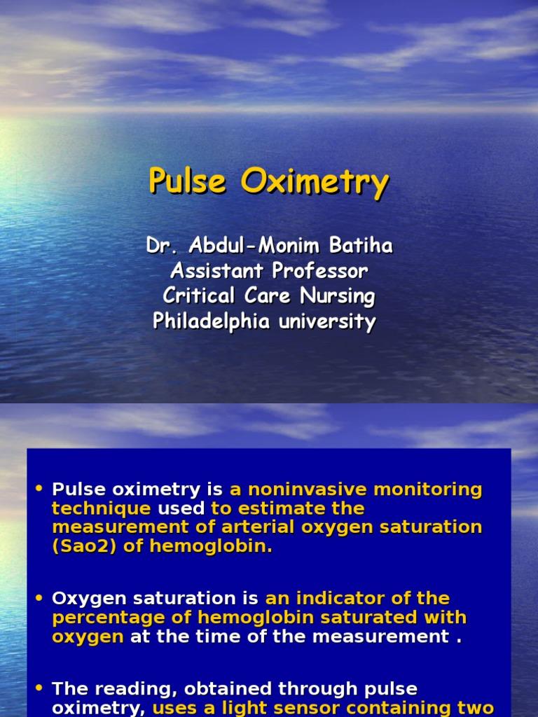 Pulse Oximetry 2   Hemoglobin   Cardiovascular System