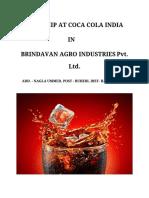 Internship at coca cola  India