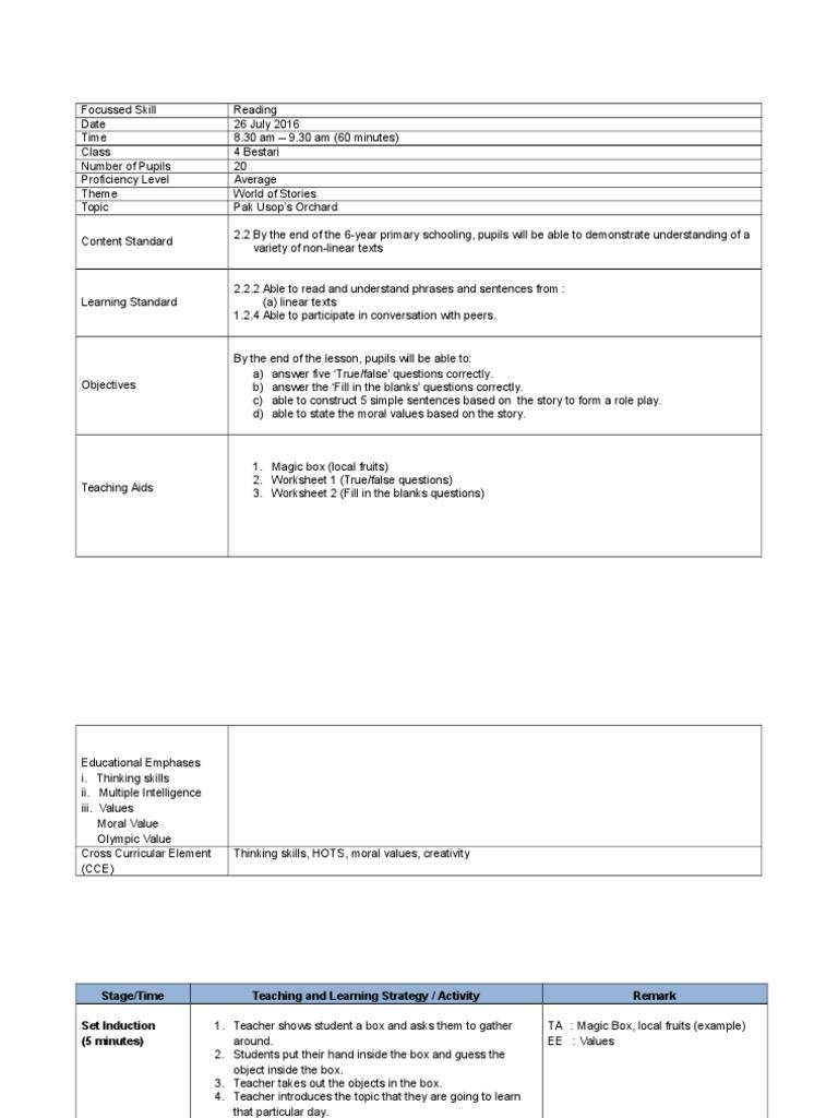 2_Reading Lesson Plan format docx | Lesson Plan | Epistemology