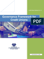 Governance Framework for Credit Unions Version October 13 2009