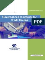Governance Framework for Credit Unions Version October 13 2009