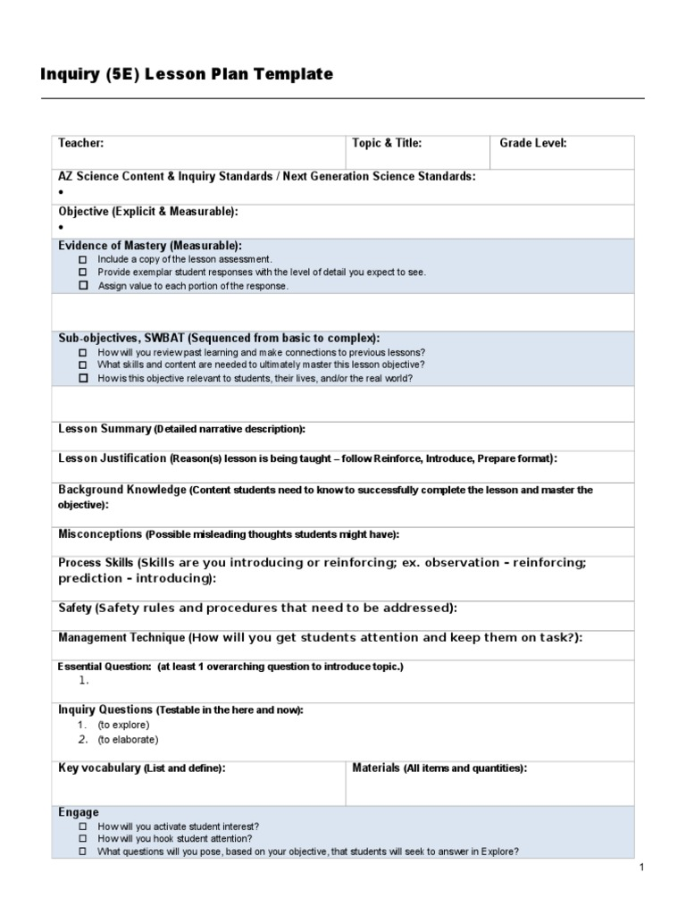 Inquiry Based Lesson Plan Template 17 Neuropsychological