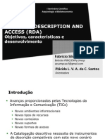 Resource Description and Acces (RDA), Seminário Científico Arquivologia e Biblioteconomia, Unesp/Marília 2010 - Slides