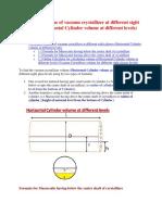 Formula to Find Horizontal Cylinder Volume at Different Levels
