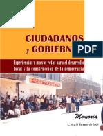 Gobiernos, Desarrollo Local, Democracia y Ciudadanos