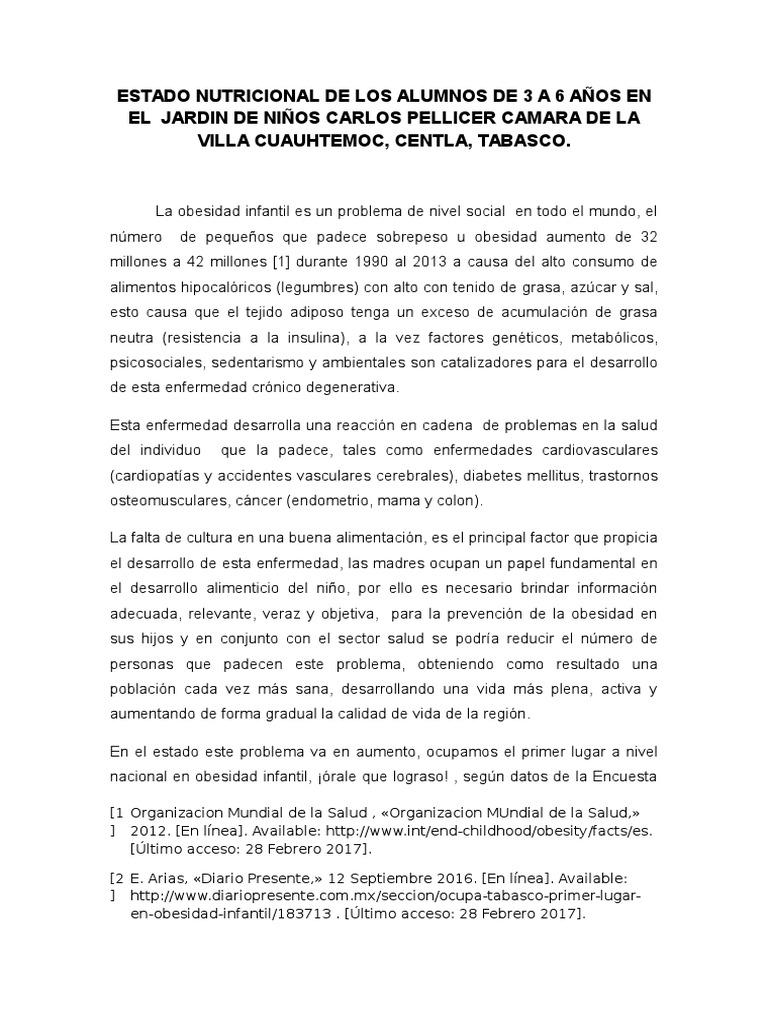 Estado Nutricional de Los Alumnos de 3 a 6 Años en El Jardin ...