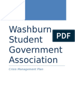 crisis management plan for washburn student government