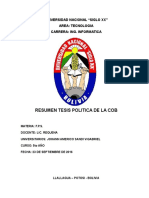 Resumen tesis politica de la COB
