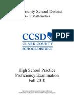 RPDP - CCSD - High School Proficiency Practice Test 2010F - Math