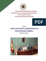 Programa-guia Curso Experto Universitario Investigacion Crimina. iuisi 2010-2011