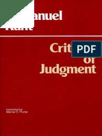 Kant Immanuel Critique of Judgment 1987